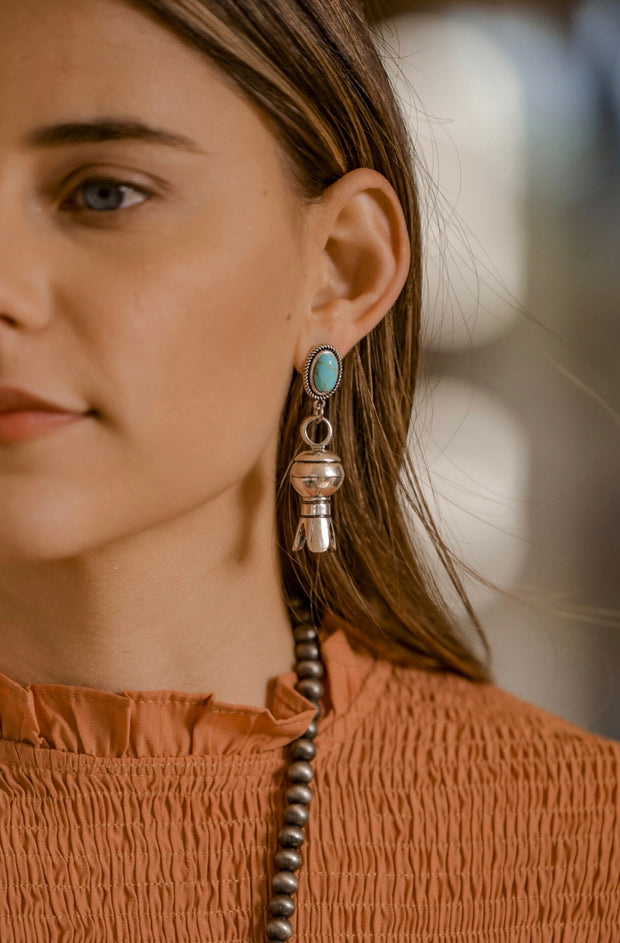 Silver Blossom Earring on Turquoise Post