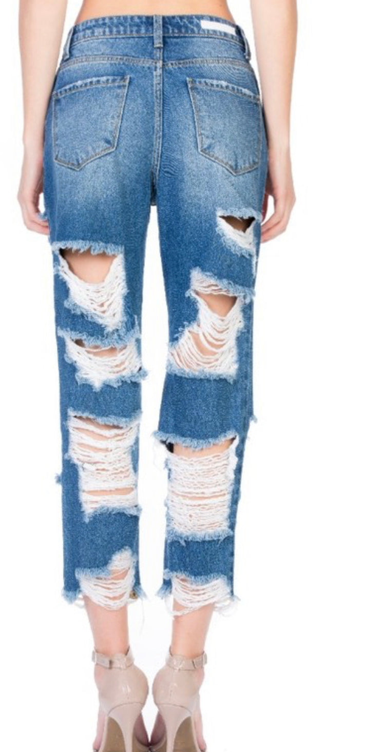 Holy grail heavy distress denim