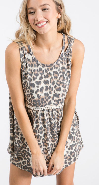 Call me darlin leopard babydoll top