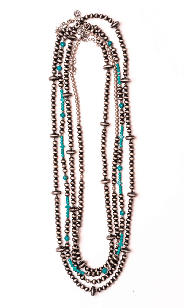 Faux Navajo Pearl Beaded Necklace