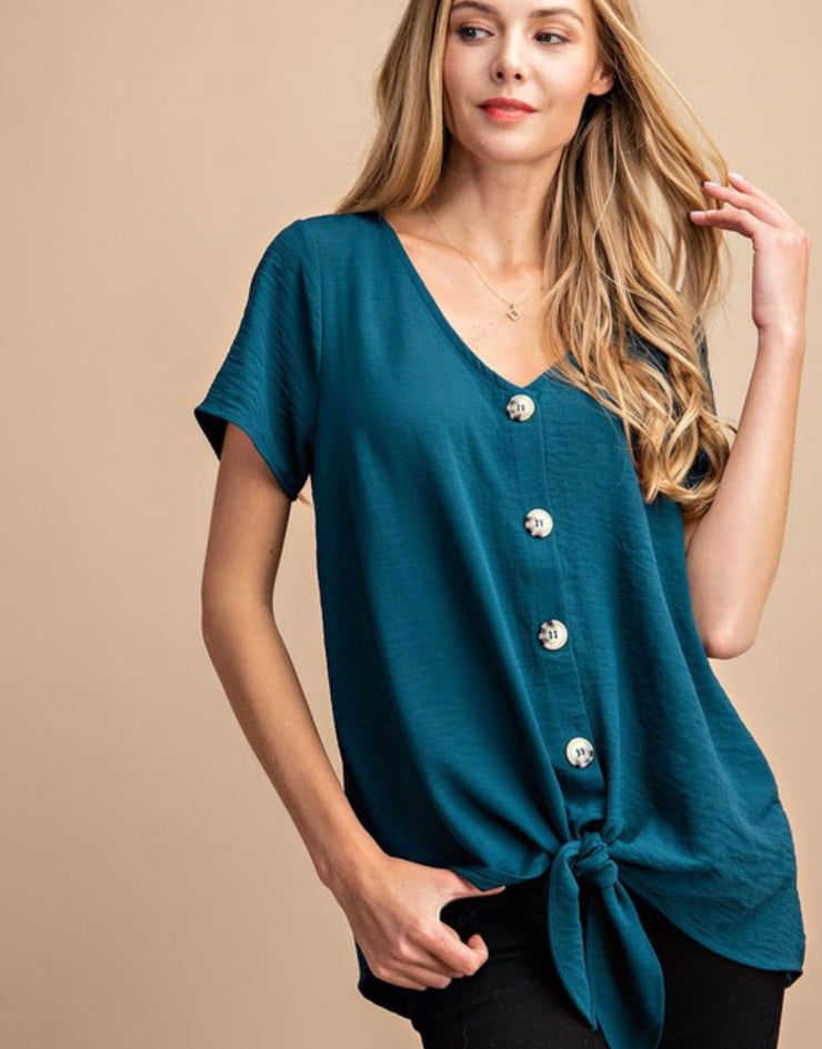 Tortoise button down knot top