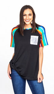 Black serape sequin top reg+plus