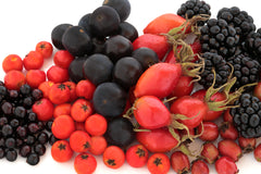 Hawthorn Berries, Blueberries, Blackberries