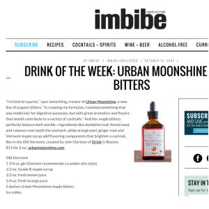 Imbibe - Drink of the Week: Urban Moonshine Bitters