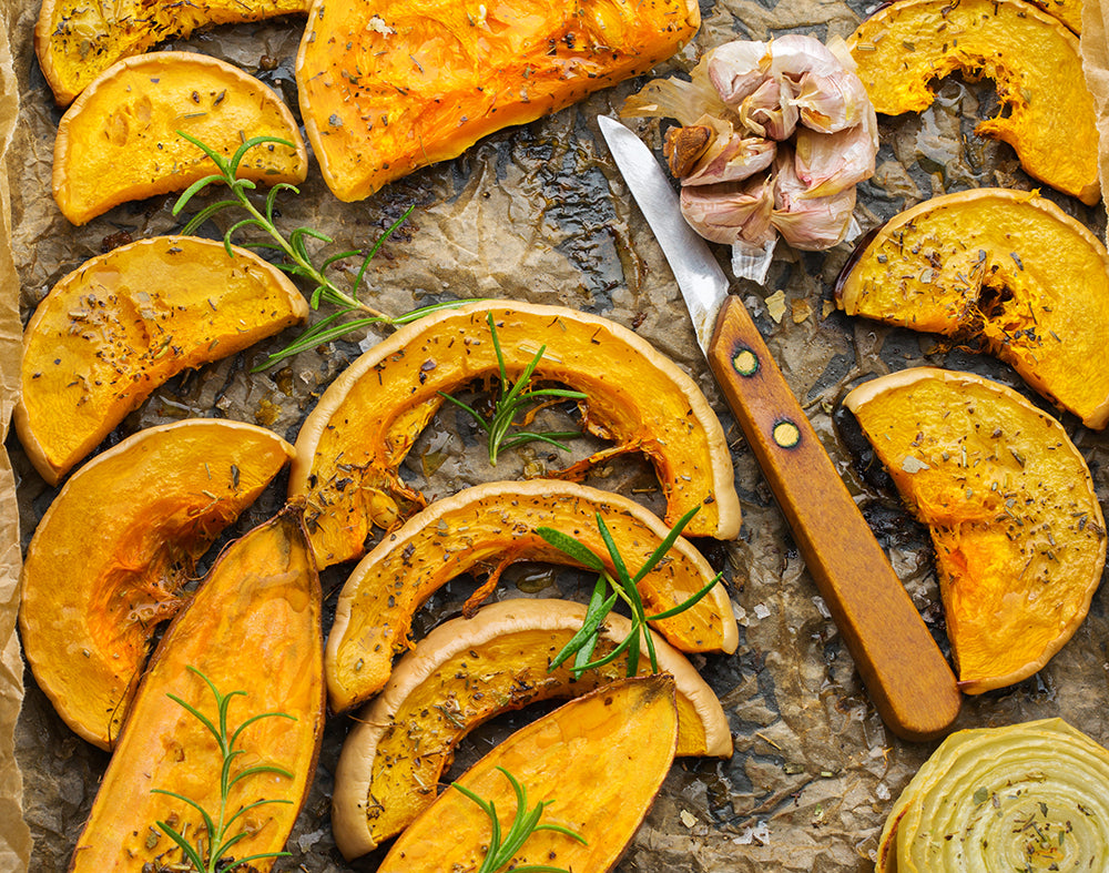 Roasted squash on a tray ready to serve: the sweet flavor