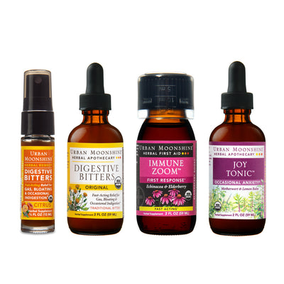 Products included in the bundle are Original Bitters 2oz, Citrus Bitters Travel Spray, Joy Tonic 2oz, Immune Zoom 2oz