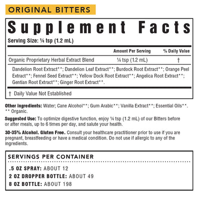 Original Digestive Bitters Supplement Facts