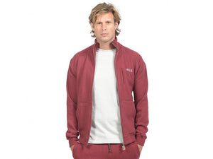 Men's Pattern Zip Up Sweater HoodLamb Merlot