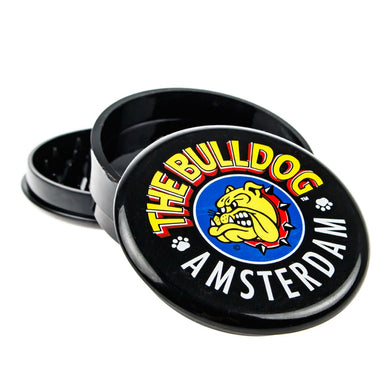 Grinder The Bulldog Amsterdam Solid Black 3 Part Plastic - rollit-gr