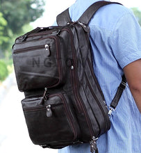 Multifunctional Genuine Leather Backpack Men Backpack Fashion Male School Backpack Travel Bag Large Leather rucksack Big Black