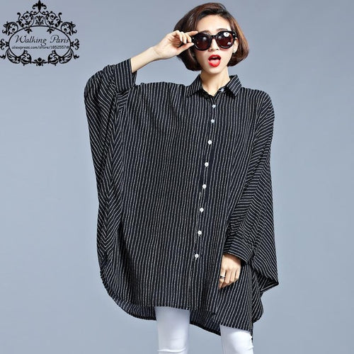Plus Size Chiffon Blouse Women Dresses Big Size Spring Striped Print Casual Clothing Batwing Sleeve Elegant Loose Fashion Dress