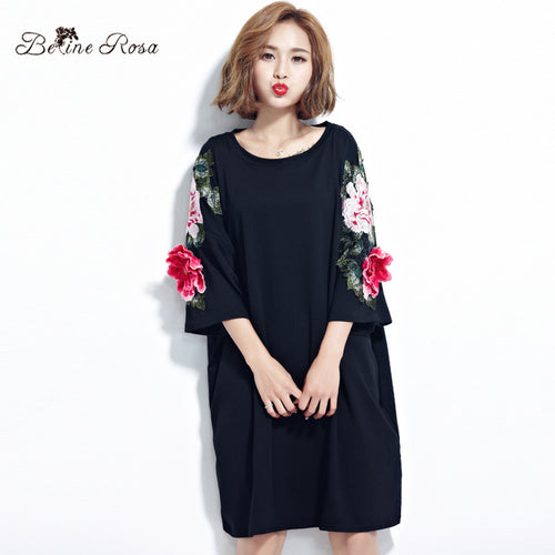 BelineRosa Plus Size Women Dresses 2017 Floral Appliques Black Cotton T Shirt Dress for Women  Fit L ~ 4XL TYW00294