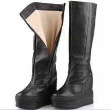 Women Knee High Boots All Genuine Leather Long Boots Autumn Winter Ladies Fashion Thick Sole Platform Height Increasing Shoes