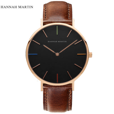 Hannah Martin Designer Watch Men Womens Watches Fashion Casual Top Brand Luxury Watch Leather Nylon Clock Hour Relogio Masculino