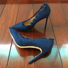 Craylorvans Top Quality Denim High Heels Women Pumps New Fashion Big Size Thin Heels Women Shoes