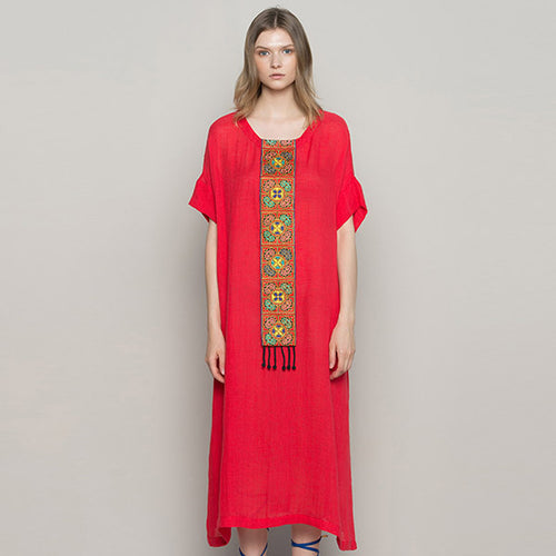 Jiqiuguer Women Vintage Tassel Linen Dresses Blue Plus Size O-neck Flowers Embroidery Patch Red Summer Dress   G172Y054