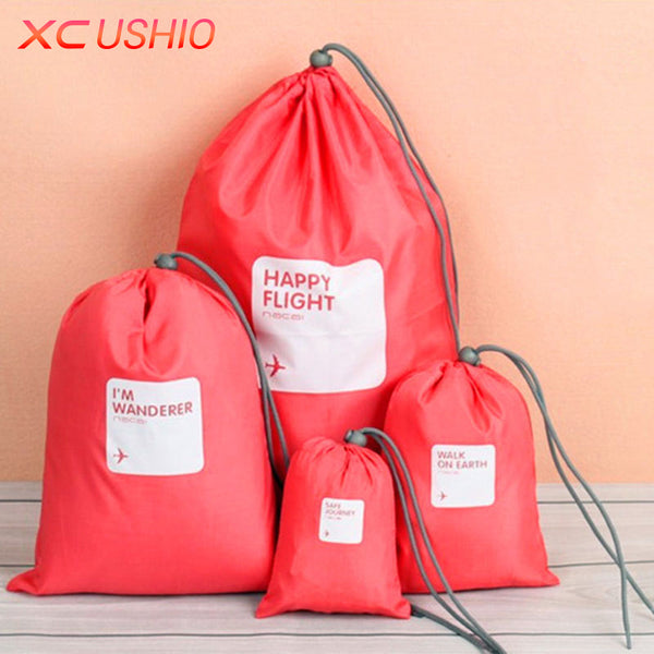 4 pc/set Waterproof Travel Drawstring Bag / Luggage Organizer Cosmetic Storage Pouch