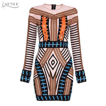 Adyce 2017 Sexy Women Summer Runway Bandage Dress Patchwork Mini Vestidos O-neck Back Zipper Celebrity Evening Party Dresses