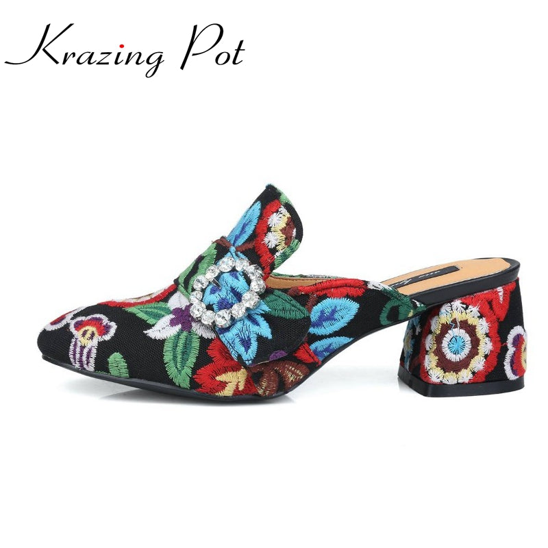 Fashion slip on brand shoes crystal buckle high heels casual round toe women pumps embroidery party sandals Chinese style L29