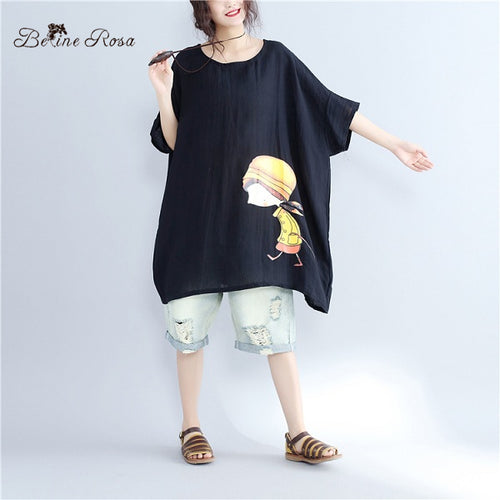 BelineRosa Women's Plus Size Cute Shirts Dress Korean Style Kawaii Girls Batwing Black White Tunic WomenSDM0005