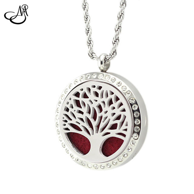 10pcs Tree of Leaf 316L Stainless Steel Aromatherapy Perfume Locket Pendant 30mm Magnetic Essential Oil Difuser Locket SMG4069