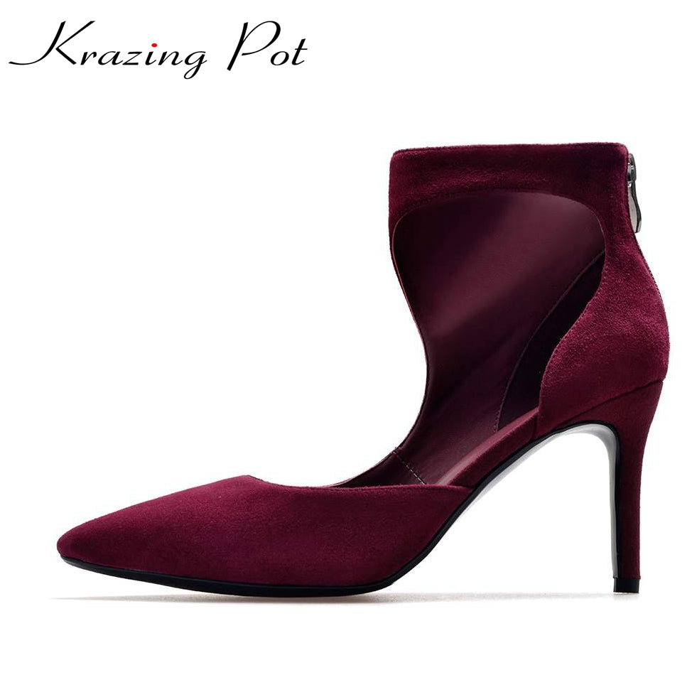 Krazing Pot new classics sheep suede recommend zipper pointed toe concise stiletto thin high heels women banquet party pumps L21