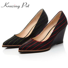 Krazing Pot horsehair shoes women pointed toe slip on women pumps causa wedges superstar office lady beauty increased shoes L45