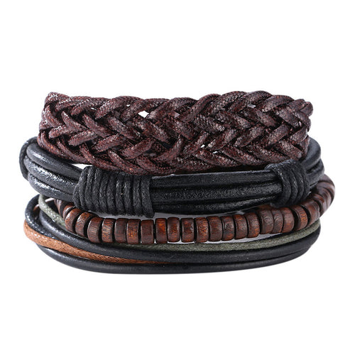 Braided Leather Bracelets & Bangles multilevel leather bracelets men 2017 Male Bracelets Bangles Jewelry Boyfriend Best Gift