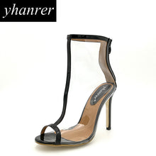 2017 Newest Sexy transparent PVC High Heels Women Thin Heel Pumps Stilettos Peep Toe Sandals Party Shoes Heeled 10cm K317