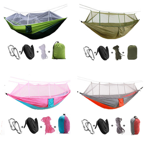 F Nelon Handy Portable Hammocks Folded into The Pouch Mosquito Nets Outdoor Furniture Hanging Bed for Travel Camping Hammock
