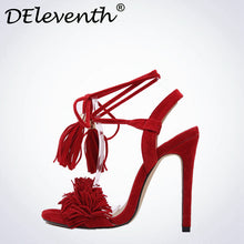 Hot Selling 2017 Summer Tassels Sexy Shoes Women Ankle Strap High Heels Open Toe Cross Strap Sandals Wedding Party Sandals Red