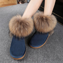 Top Fashion 2017 Women's Natural Fox Fur Snow Boots 100% Genuine Cow Leather Winter Boots Female Winter Shoes Women Boots