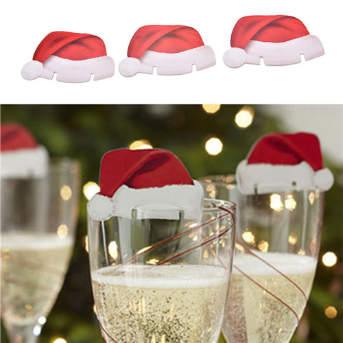 10pcs/lot New Christmas Decorations For Home Xmas Santa Claus Hats Champagne Glass Decor Paperboard Noel Navidad
