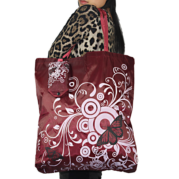 Butterfly Square Pocket Shopping Bag for Travel or Grocery