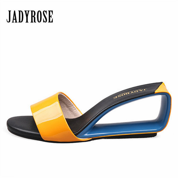 Jady Rose 2017 Designer Gladiator Sandals Fashion Wedge Shoes Women's Sandals High Heel Slippers Valentine Shoe Summer Slides
