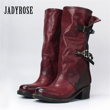 Jady Rose Handmade Wine Red Women Genuine Leather Boots Vintage Belt Buckle Martin Boots Female Rubber Shoes Woman Botas Mujer