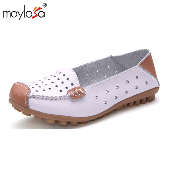MAYLOSA 2017 Cow Muscle Ballet Summer Flower Print Women Genuine Leather Shoes Woman Flat Flexible Nurse Peas Loafer Flats