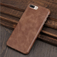 Solque Genuine Leather Case for iPhone 7 Plus Cell Phone Retro Vintage Slim Hard Cover For iPhone 8 Plus Luxury Matte Skin Cases