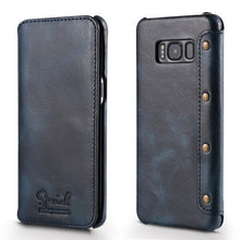 Solque Real Genuine Leather Flip Cover Case For Samsung Galaxy S8 Plus S 8 Cell Phone Luxury Vintage Leather Wallet Cases