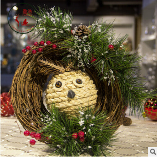 2017 New Arrival  natal Owl Christmas Pendant & Drop Ornaments Wtih Pinecone Rattan Christmas  Decorations for Home