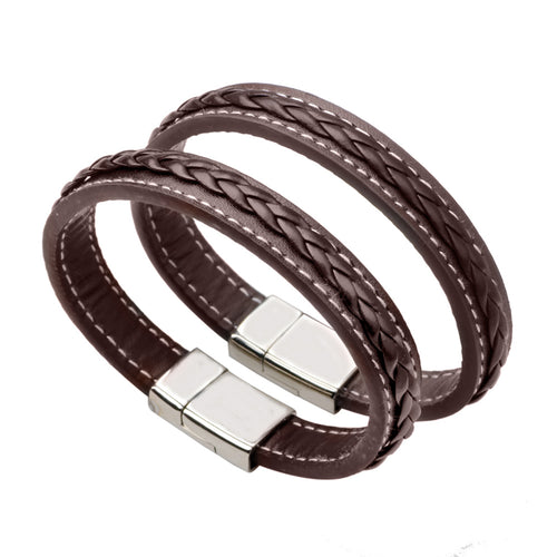 Fashion Charm Bracelet Bangle Stainless Steel Leather Chain Genuine Leather Bracelet Men Vintage Male Braid Accessories Jewelry
