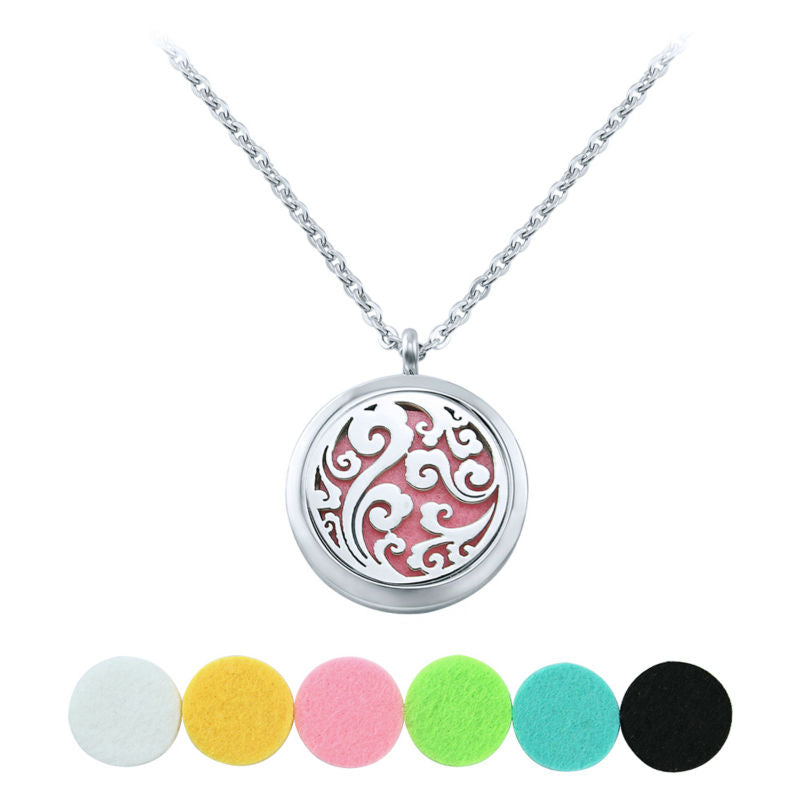 AOEDEJ Round Shaped Lockets Pendant Perfume Necklace Essential Oil Diffuser Perfume Aromatherapy Lockets Necklace Perfumes women