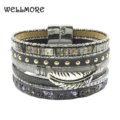 summer leather bracelet gray blue red yellow Feather accessories charm bracelets Bohemian bracelets & bangles for WOMEN B160801