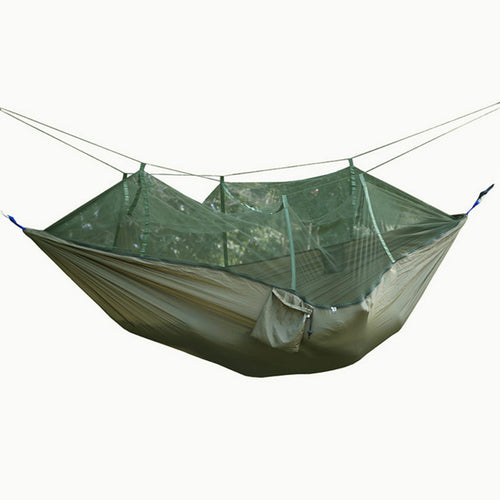 FF Single-person Army Green Hanging Hammocks Indoors Garden Outdoor Mosquito Net Hammock Fabric Camping Travel Furniture Gifts