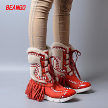 BEANGO Tassel Women Shoes Cow Leather Winter Boots Round Toe Side Zipper Ankle Boots Fringed Rivets Shoes Women Botas