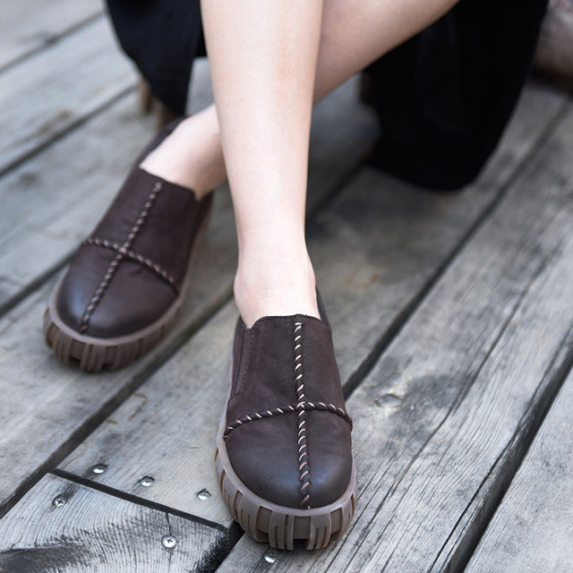 Original Design Vintage Thick Bottom Shoes Comfortable Waterproof 2017 New Autumn Flat Women Shoes 18668