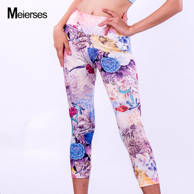 93838e36649 ... MEIERSES Sports Wear for Women Elasticity High Weight 3 4 Length  Leggings Fitness Clothing Workout ...