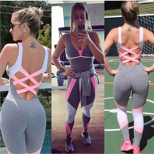 2017 Brand New US Stock Women Ladies Gym Playsuit Clothes Exercise Sport Top Running Sportswear Soft Yoga Jumpsuit