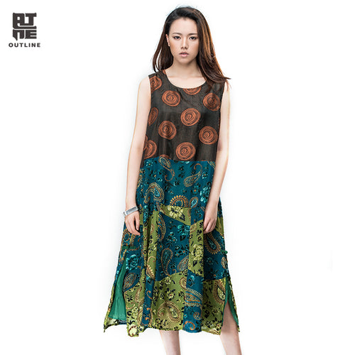 Outline Summer Women Long Dress Sleeveless O-neck Split Hem Patchwork Flock Printing Vestido Loose Plus Size Beach DressL162Y030