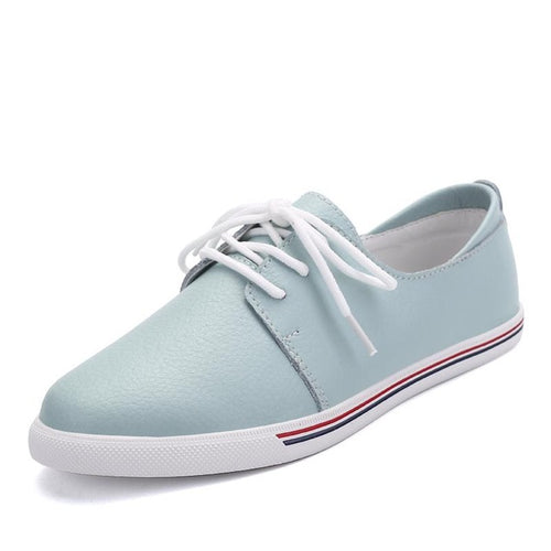 Baoluma Autumn Women Flats Genuine Leather White Casual Oxford Shoes Ladies Lace Up Ballerina Flats Oxfords Ballet Flats